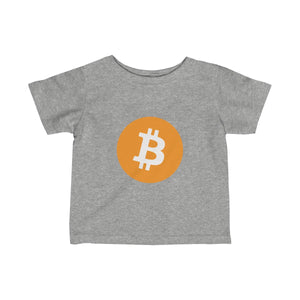 Infants Grey TShirt With Orange and White Bitcoin Logo