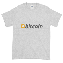 Load image into Gallery viewer, Ash Short Sleeve T-Shirt with White, Orange, and Grey Bitcoin Logo