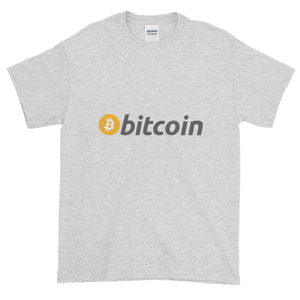 Ash Short Sleeve T-Shirt with White, Orange, and Grey Bitcoin Logo