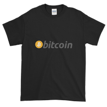 Load image into Gallery viewer, Black Short Sleeve T-Shirt with White, Orange, and Grey Bitcoin Logo