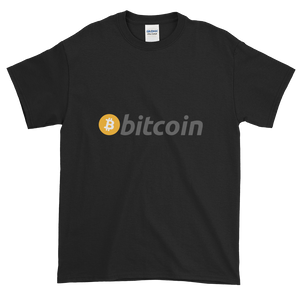 Black Short Sleeve T-Shirt with White, Orange, and Grey Bitcoin Logo