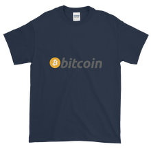 Load image into Gallery viewer, Navy Blue Short Sleeve T-Shirt with White, Orange, and Grey Bitcoin Logo