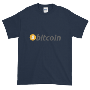 Navy Blue Short Sleeve T-Shirt with White, Orange, and Grey Bitcoin Logo