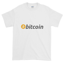 Load image into Gallery viewer, White Short Sleeve T-Shirt with White, Orange, and Grey Bitcoin Logo