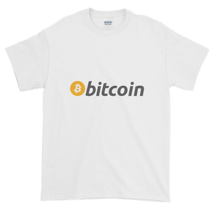White Short Sleeve T-Shirt with White, Orange, and Grey Bitcoin Logo