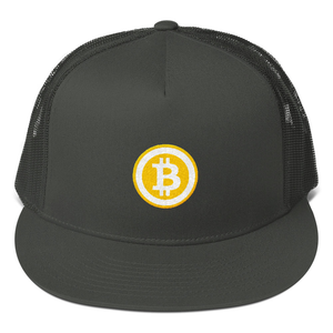 Charcoal Grey Hat With Embroidered Orange and White Bitcoin Logo