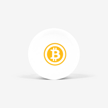 Load image into Gallery viewer, White Bitcoin Popsocket With White And Orange Bitcoin Logo Front View