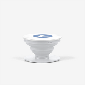 White Litecoin Popsocket With White And Blue Litecoin Logo Side View