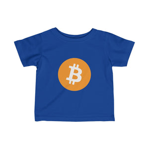 Infants Royal Blue TShirt With Orange and White Bitcoin Logo