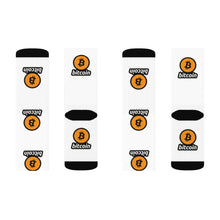 Load image into Gallery viewer, White Socks with Orange and Black Bitcoin Logos Left and Right