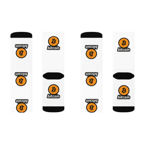White Socks with Orange and Black Bitcoin Logos Left and Right
