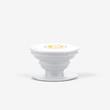 Load image into Gallery viewer, White Bitcoin Popsocket With White And Orange Bitcoin Logo Side View