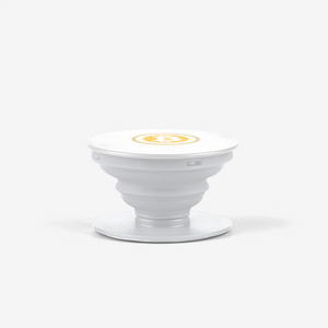 White Bitcoin Popsocket With White And Orange Bitcoin Logo Side View