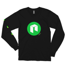 Load image into Gallery viewer, Black Long Sleeve Unisex NEO T Shirt With Green NEO Logos On Chest and Right Arm