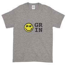 Load image into Gallery viewer, Grey Short Sleeve T-Shirt With Yellow and Black Grin Smiley Face Logo