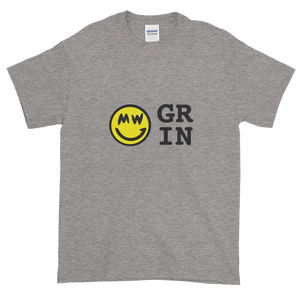 Grey Short Sleeve T-Shirt With Yellow and Black Grin Smiley Face Logo