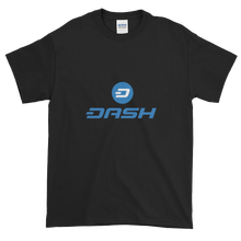 Load image into Gallery viewer, Black Short Sleeve T-Shirt With Blue and White Dash Logo