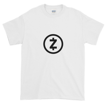Load image into Gallery viewer, White Short Sleeve T Shirt With Black Z-Cash Logo