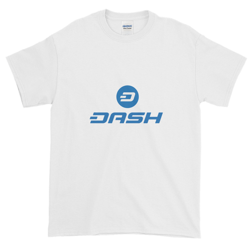 White Short Sleeve T-Shirt With Blue and White Dash Logo