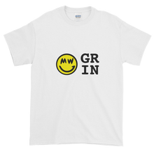 Load image into Gallery viewer, White Short Sleeve T-Shirt With Yellow and Black Grin Smiley Face Logo