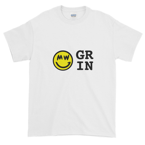 White Short Sleeve T-Shirt With Yellow and Black Grin Smiley Face Logo
