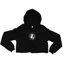 Load image into Gallery viewer, Women's Black Crop Top Hoodie With Grey and White Litecoin Logo on Front