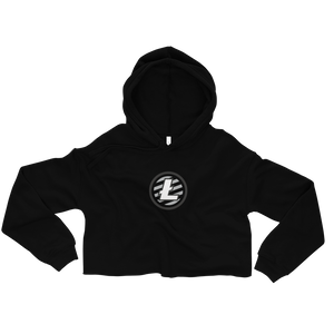 Women's Black Crop Top Hoodie With Grey and White Litecoin Logo on Front
