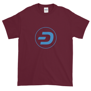 Maroon Short Sleeve T-Shirt With Blue Dash Logo