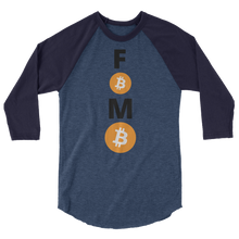 Load image into Gallery viewer, Blue on Blue 3/4 Sleeve Baseball Style Bitcoin FOMO T Shirt