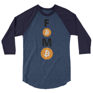 Blue on Blue 3/4 Sleeve Baseball Style Bitcoin FOMO T Shirt