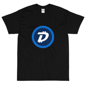 Black Short Sleeve T-Shirt With White and Blue DigiByte Logo