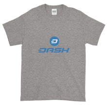 Load image into Gallery viewer, Grey Short Sleeve T-Shirt With Blue and White Dash Logo