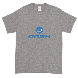 Grey Short Sleeve T-Shirt With Blue and White Dash Logo
