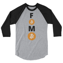 Load image into Gallery viewer, Black and Grey 3/4 Sleeve Baseball Style Bitcoin FOMO T Shirt