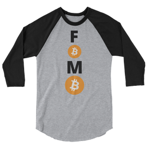 Black and Grey 3/4 Sleeve Baseball Style Bitcoin FOMO T Shirt