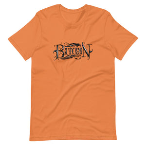 Orange Short Sleeve T-Shirt With Black Bitcoin Design By Instiller