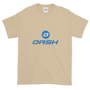 Sand Short Sleeve T-Shirt With Blue and White Dash Logo