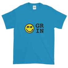 Load image into Gallery viewer, Sapphire Blue Short Sleeve T-Shirt With Yellow and Black Grin Smiley Face Logo