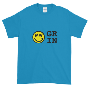 Sapphire Blue Short Sleeve T-Shirt With Yellow and Black Grin Smiley Face Logo