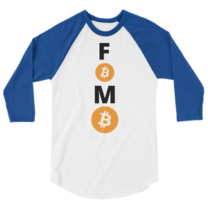 Royal Blue and White 3/4 Sleeve Baseball Style Bitcoin FOMO T Shirt