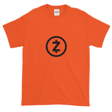 Load image into Gallery viewer, Orange Short Sleeve T Shirt With Black Z-Cash Logo