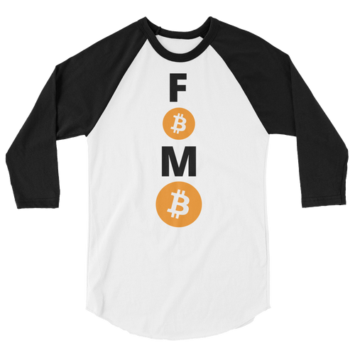 Black and White 3/4 Sleeve Baseball Style Bitcoin FOMO T Shirt