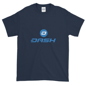 Navy Blue Short Sleeve T-Shirt With Blue and White Dash Logo