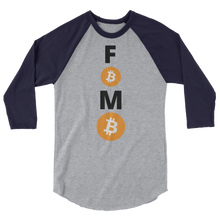 Load image into Gallery viewer, Blue and Grey 3/4 Sleeve Baseball Style Bitcoin FOMO T Shirt