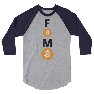 Blue and Grey 3/4 Sleeve Baseball Style Bitcoin FOMO T Shirt