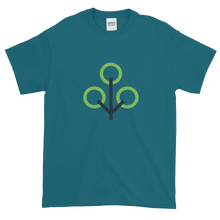 Load image into Gallery viewer, Galapagos Blue Short Sleeve T-Shirt With Green and Grey Zcash Sapling Logo