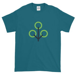 Galapagos Blue Short Sleeve T-Shirt With Green and Grey Zcash Sapling Logo
