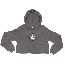 Load image into Gallery viewer, Women's Grey Crop Top Hoodie With Grey and White Litecoin Logo on Front