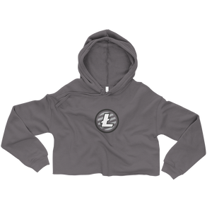 Women's Grey Crop Top Hoodie With Grey and White Litecoin Logo on Front