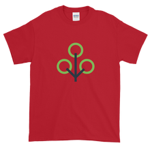 Load image into Gallery viewer, Cherry Red Short Sleeve T-Shirt With Green and Grey Zcash Sapling Logo
